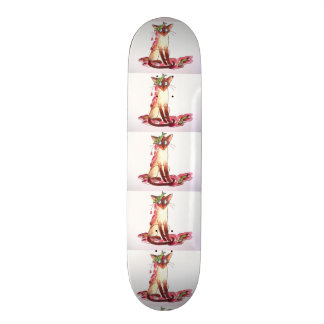 gato divertido pensativo skate boards