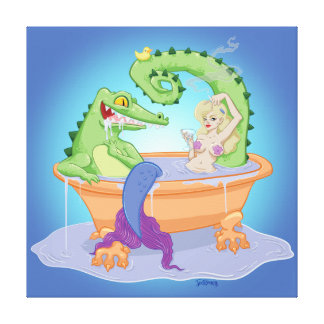 Gator and Mermaid Canvas Print