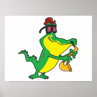 gator blues alligator playing sax cartoon print