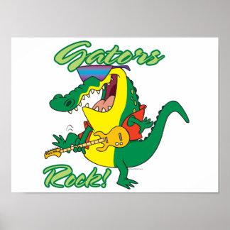 gators rock rock n roll alligator cartoon poster