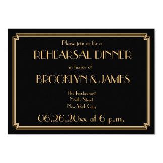 Gatsby Art Deco Black Wedding Rehearsal Invites