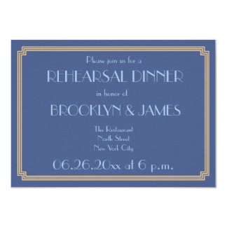 Gatsby Art Deco Blue Wedding Rehearsal Invites