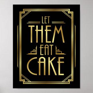 Gatsby Art Deco LET THEM EAT CAKE Sign Print