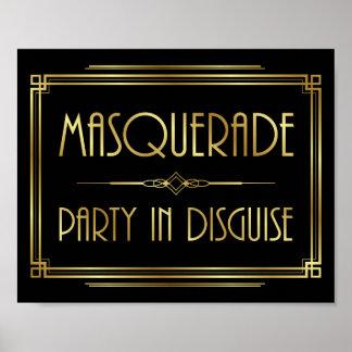 Gatsby Art Deco MASQUERADE Sign Print