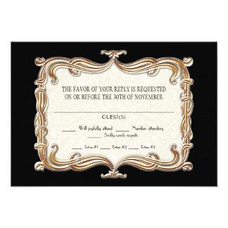Gatsby Art Deco Nouveau Lace Faux Gold Tulip Custom Invitation