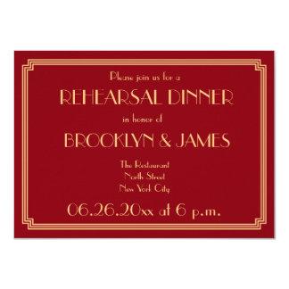 Gatsby Art Deco Red Gold Wedding Rehearsal Invites