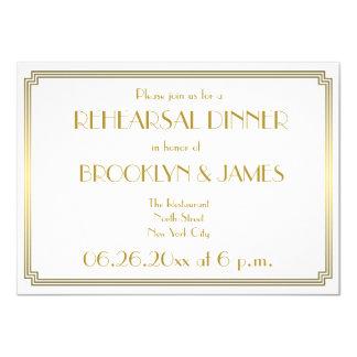 Gatsby Art Deco White Wedding Rehearsal Invites