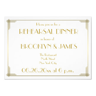 Gatsby Gold Art Deco Wedding Rehearsal Invites