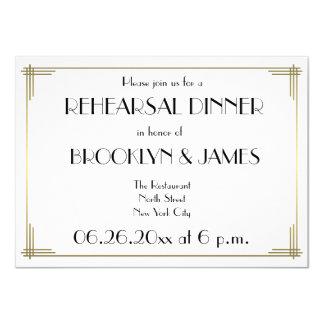Gatsby White Art Deco Wedding Rehearsal Invites