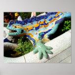 Gaudi Lizard Mosaics Poster