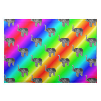 Gaudy Bright Rainbow Elephant Pattern Placemat