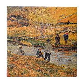 Gauguin - Breton Fisherman Small Square Tile