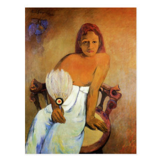 Gauguin Girl With A Fan Postcard