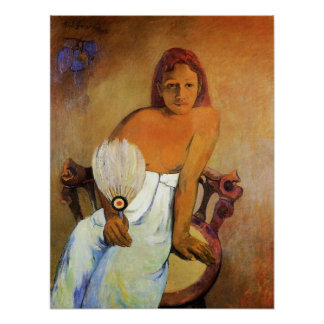 Gauguin Girl With A Fan Poster