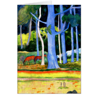 Gauguin - Landscape with Two Blue Tree Trunks Card
