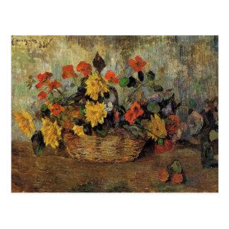 Gauguin - Nasturtiums and Dahlias in a Basket Postcard