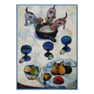 Gauguin Painting: Still Life with 3 Puppies Poster