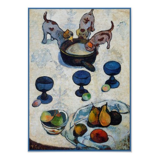 Gauguin Painting: Still Life with 3 Puppies Posters