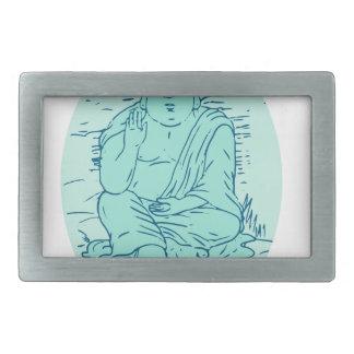 Gautama Buddha Lotus Pose Drawing Belt Buckle