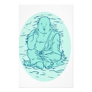 Gautama Buddha Lotus Pose Drawing Stationery