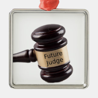 Gavel Design For Aspiring Judges And Lawyers Silver-Colored Square Decoration