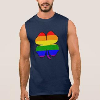 Gay and Lesbian Rainbow Flag Shamrock Sleeveless Shirt
