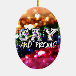 Gay and Proud Rainbow Design Ceramic Oval Decoration