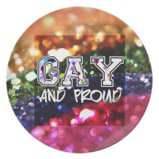 Gay and Proud Rainbow Design Plate
