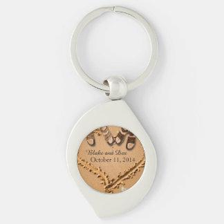 Gay Beach Wedding Custom Keychain Favors Silver-Colored Swirl Key Ring