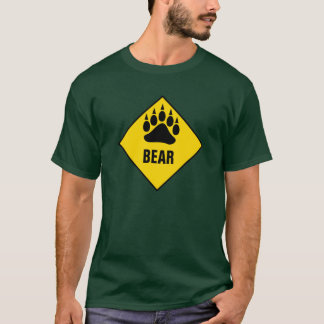 Gay Bear Bear Paw Yellow Road Sign T-Shirt