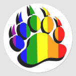 Gay Bear claw  rainbow with black shadow Round Stickers