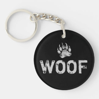 Gay Bear Pride distressed Bear Paw WOOF Double-Sided Round Acrylic Key Ring