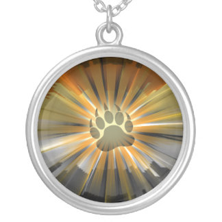 Gay Bear Pride Flag Bear Paw Silver Plated Necklace