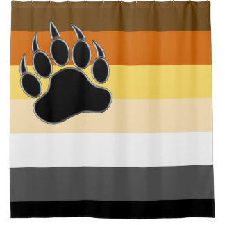 Gay Bears Pride Flag and Bear Paw Shower Curtain