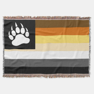 Gay Bears Pride Flag and Bear Paw Throw Blanket