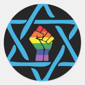 Gay Black Jewish Classic Round Sticker