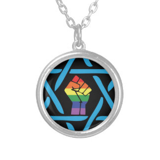 Gay Black Jewish Silver Plated Necklace