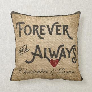 Gay Burlap Forever Always Heart Personalised Cushion