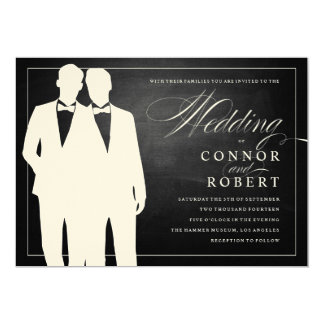 Gay Chalkboard Wedding Two Grooms Silhouettes Card