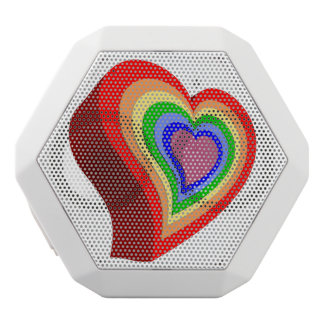 Gay colorful heart white bluetooth speaker