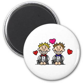 Gay Couple 6 Cm Round Magnet