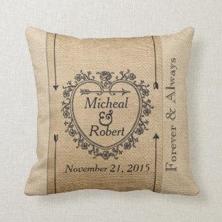 Gay Fancy Burlap Anniversary Date Heart Cushion