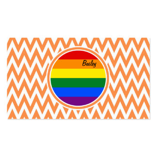 Gay Flag Orange and White Chevron Business Cards