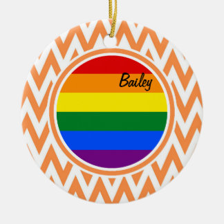 Gay Flag Orange and White Chevron Christmas Ornaments