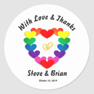 Gay Lesbian Custom Wedding Favor Round Stickers