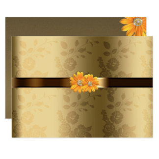 Gay/Lesbian Gold & Chocolate Brown Yellow Flowers Card
