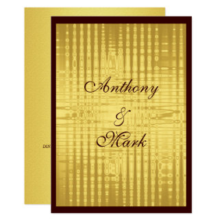 Gay / Lesbian Gold Metallic Wedding Invitation