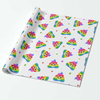 Gay lesbian rainbow poop emoji wrapping paper