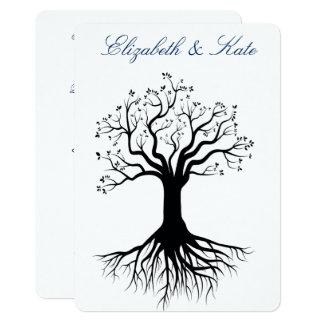 Gay, Lesbian Wedding Invitation Tree Sihilouette