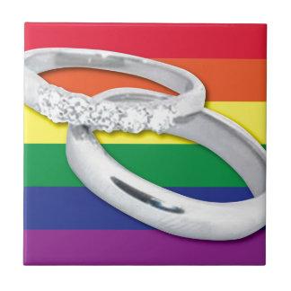Gay Lesbian Wedding Small Square Tile